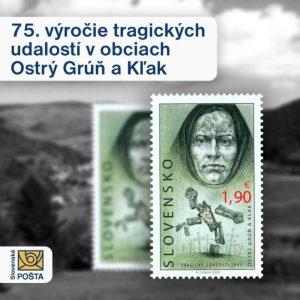 Slovenská pošta vydala známku k 75. výročiu tragických udalostí v obciach Ostrý Grúň a Kľak