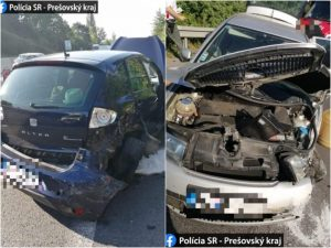 Na diaľnici D1 v smere do Košíc sa zrazili tri autá, polícia odporúča využiť obchádzkovú trase